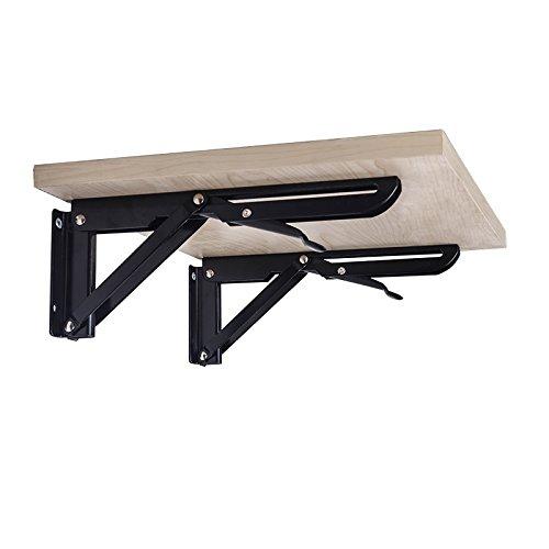 Gaoominy 2PCS Decoratif mural Triple-Cornered de etagere monte pliable table de roulement en metal supports de fixation usine 400mm x 150mm