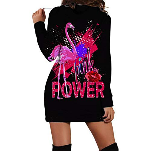 Amazon.com: Flamingo Women Long Sleeve Long Hoodie Sweatshirt Dress Autumn Tracksuit: Clothing