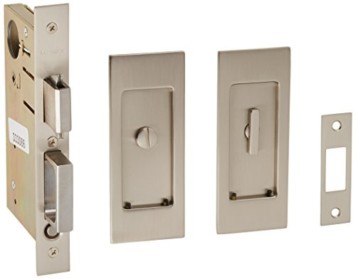 Baldwin PD006.PRIV Santa Monica Privacy Pocket Door Set with Door Pull from the, Satin Nickel