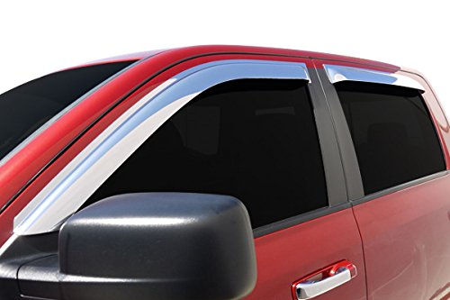 Razer Auto Triple Chrome 4pcs Set Tape-On Window Visor/Wind Deflectors for 2009-2014 Ford F150Crew Cab Only Super CrewSuper Crew and Crew Cab Only