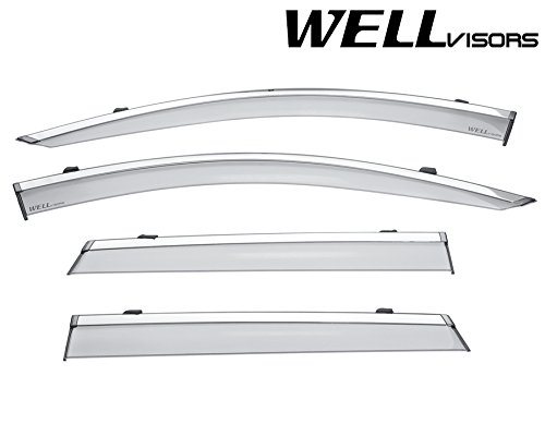 WellVisors Side Window Wind Deflector Visors - Nissan Rogue Sport 17-Up 2017 2018 With Chrome Trim 3-847NS018-ISP