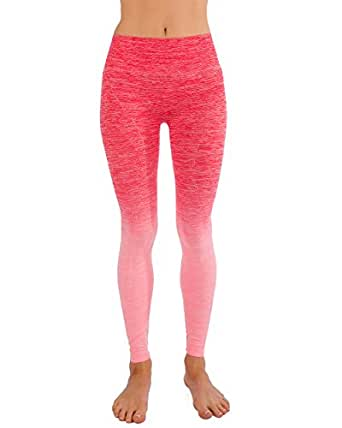 Homma Ultimate Stretch Moisture Whicking Women's Ombre Yoga Running Workout Leggings (SMALL, B.PINK/CORAL)