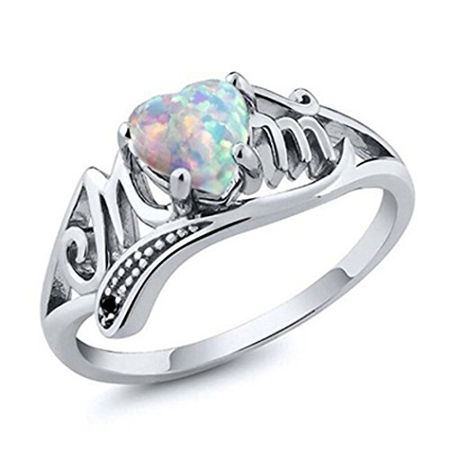 Myhouse Women Girls Mom Ring Opal Heart Letter Ring Mother Gift For Mother's Day (9)
