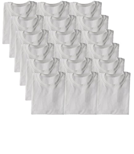 (Andrew Scott Boys'12 Pack V Neck T Shirt Cotton Color Undershirts - Bonus Pack of 12 (XL 16-18, 18 Pack- Round Crew Neck- White))