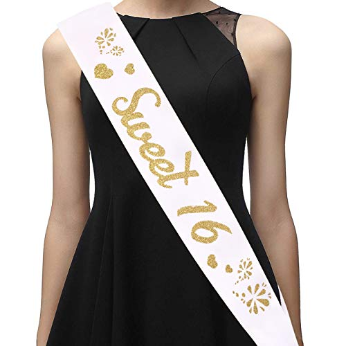 16th Birthday Sash for Girls - Sweet 16 Sash - 16th Birthday Gifts for Her - Premium Satin Ribbon with Gold Encased Glitter Lettering - 16th Birthday Decorations, Party Favors and Supplies, White