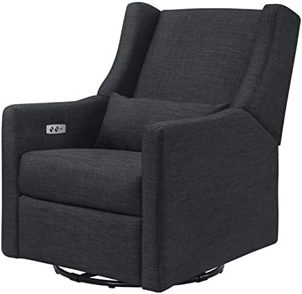 Babyletto Kiwi Electronic Power Recliner and Swivel Glider with USB Port, Coal Grey