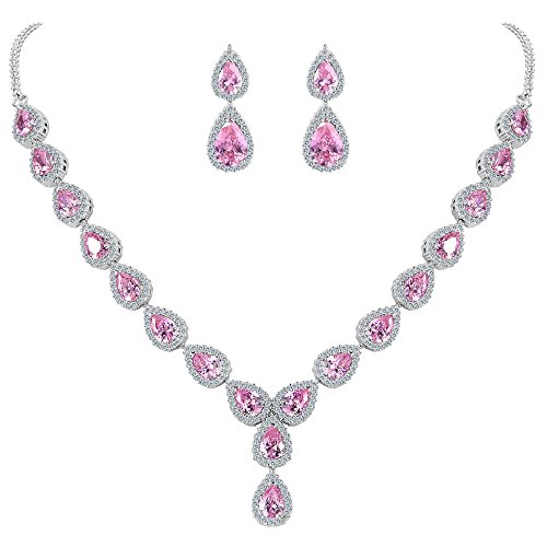 Silver Pink Rhinestone Necklace - BriLove Women's Wedding Bridal Teardrop CZ Infinity Figure 8 Y-Necklace Dangle Earrings Set Pink Tourmaline Color Silver-Tone October Birthstone