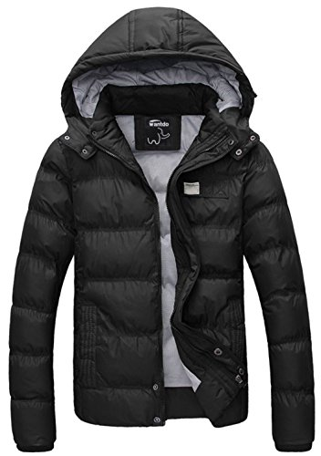 Wantdo Men's Winter Thicken Quilted Coat With Hood Large Black