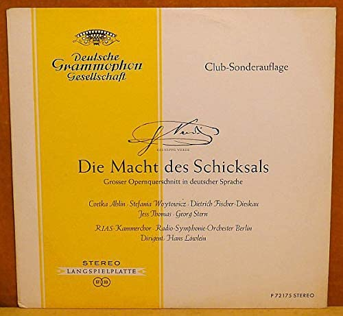 Giuseppe Verdi - Cvetka Ahlin o Stefania Woytowicz o Dietrich Fischer-Dieskau - Die Macht Des Schicksals - Deutsche Grammophon - P 72 175