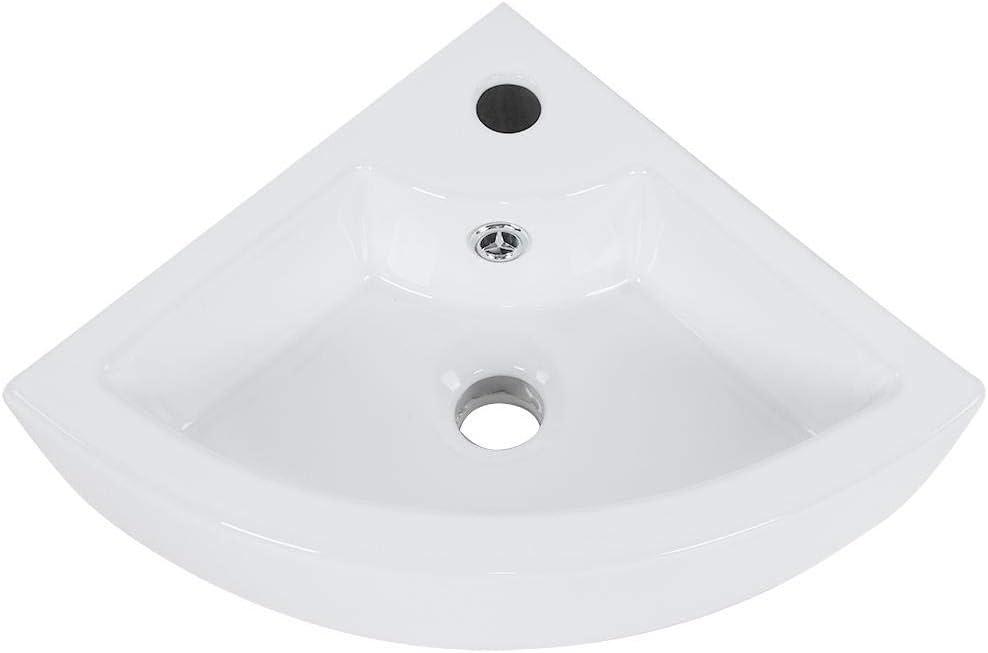 Hotel Villa 33 x 33 x 13 cm White Countertop Washbasin Bathroom Wall Sink for Home Restaurant Ceramic Corner Washbasin