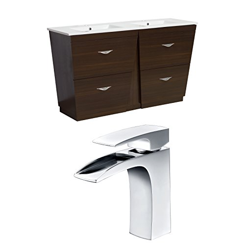 "Jade Bath JB-9054 60"" W x 18.5"" D Plywood-Melamine Vanity Set with Single Hole CUPC Faucet, Wenge delicate"
