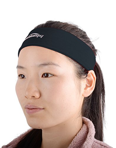 COOLOMG Solid Moisture Wicking Stretchy Non-slip Headband For Sports Yoga Running Men Women Black