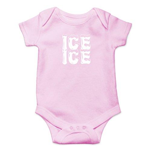 AW Fashions Ice Ice Baby - Parody Cute Novelty Funny Infant One-Piece Baby Bodysuit (Newborn, Pink) ()