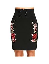 Hennta Sexy para mujer bordado de flores de cintura alta falda de fiesta mini una línea (negro)