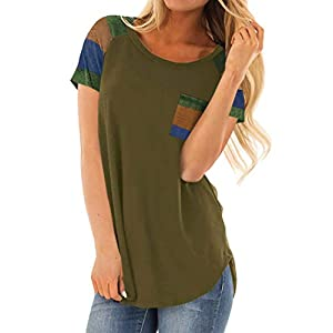 Minclouse Women's Short Sleeves Color Block Striped Tops Crew Neck Blouses Casual Shirts