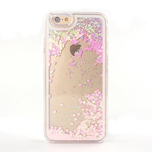 Happy Hours® Bling Heart Shape Dynamic Liquid Sand Cover Glitter Drift Flowsand Transparent Crystal Clear Hard Plastic Hourglass Quicksand Case for iPhone 6/ iPhone 6S 4.7 Inch 4.7