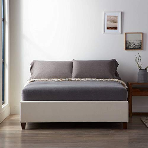 Lucid Upholstered Platform Bed with Slats - Wood Construction - Linen Inspired Fabric - No Box Spring Required - Compatible with Adjustable Bases, King, Pearl