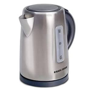 BLACK+DECKER 1.7L Cordless Kettle, Silver, KE2000SD