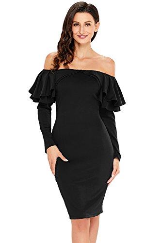 Shoulder Ruffle Long Sleeve Bodycon Cocktail Dress ((US 4-6) S, Black) ()