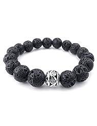 TEMEGO Jewelry Mens Womens 12mm Alloy Bracelet, Link Wrist Lava Rock Energy Stone Gemstone Beads Bracelet, Black Silver