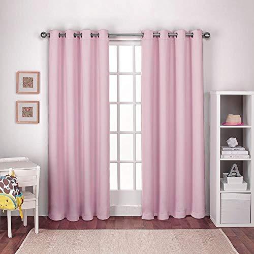 Exclusive Home Textured Woven Blackout Grommet Top Curtain Panel Pair, Bubble Gum Pink, 52x84