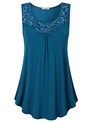 Youtalia Womens Summer Sleeveless Tops Lace Scoop Neck Pleated Front Office Tank