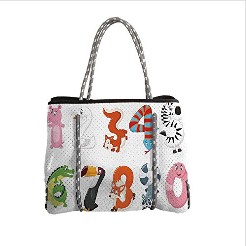 iPrint Neoprene Multipurpose Beach Bag Tote Bags,Mathematics Classroom Decor,Numbers in The Form of Animals Cartoon Style Arithmetic Lesson Decorative,Multicolor,Women Casual Handbag Tote Bags]()