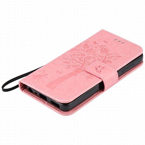 Custodia Lenovo ZUK Z2 Cover Case, Ougger Alberi Gatto Printing Portafoglio PU Pelle Magnetico Stand Morbido Silicone Flip Bumper Protettivo Gomma Shell Borsa Custodie con Slot per Schede (Rosa)