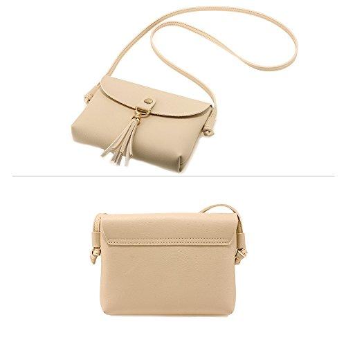 Women Girls Beige Style Tassel Shoulder Bag Over Handbag 1 Designer New Faux Design For Cross Body Messenger Small Purse Ladies Leather qvPRY