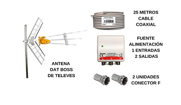 Kit TDT de Televes de Ganancia máxima, 25 m de Cable, 2 ...
