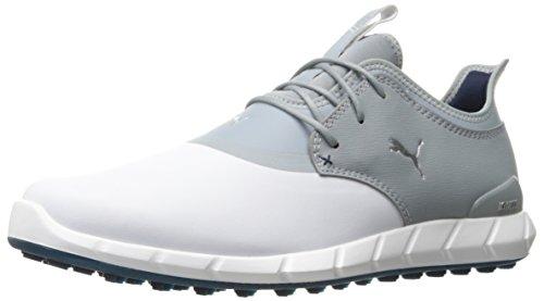 (Puma Golf Men's Ignite Spikeless PRO Golf Shoe White/Quarry//Puma Silver, 10 M US)