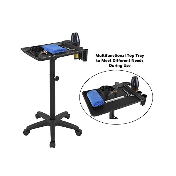 Salon Rolling Tray On Wheels Beauty Trolley Cart Hair Spa Equipment Height Adjustable Swivel for Home,Office,Salon…