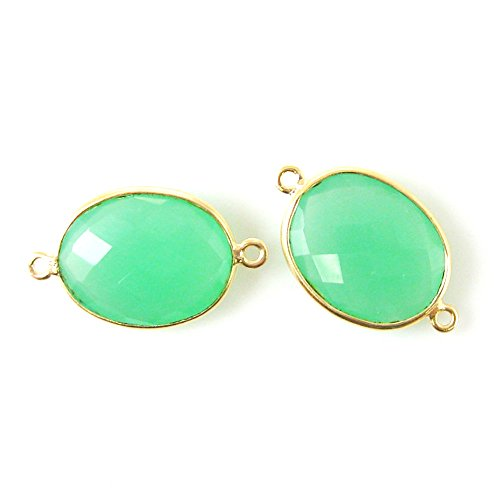 Gemstone Connector - Vermeil - 14x18mm Faceted Oval Link - Prehnite Chalcedony (Sold Per 2 Pieces)
