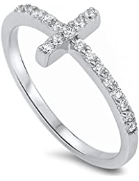 Sideways Cross Cubic Zirconia .925 Sterling Silver Ring Sizes 4-12 Colors Available