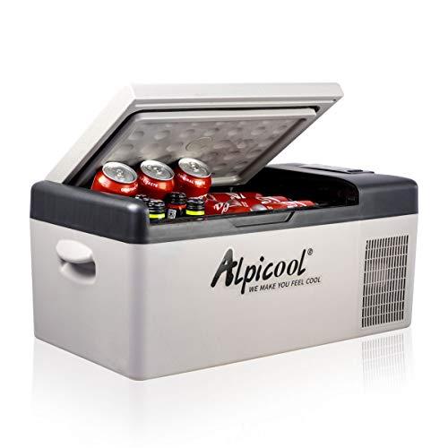 Alpicool C15 Portable Refrigerator 16 Quart(15 Liter) 12 Volt Fridge Freezer for Car, Vehicle, Truck, RV, Boat, Mini fridge freezer for Driving, Travel, Fishing, Outdoor -12/24V DC
