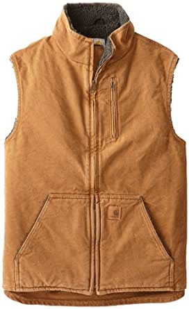 Carhartt Men's Big & Tall Sherpa Lined Sandstone Mock Neck Vest V33,Brown,Large Tall
