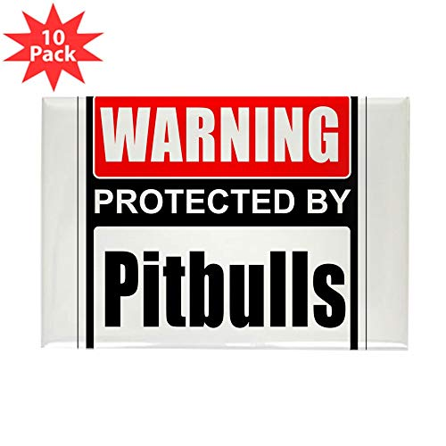 CafePress Warning Pitbulls Magnets Rectangle Magnet, 2
