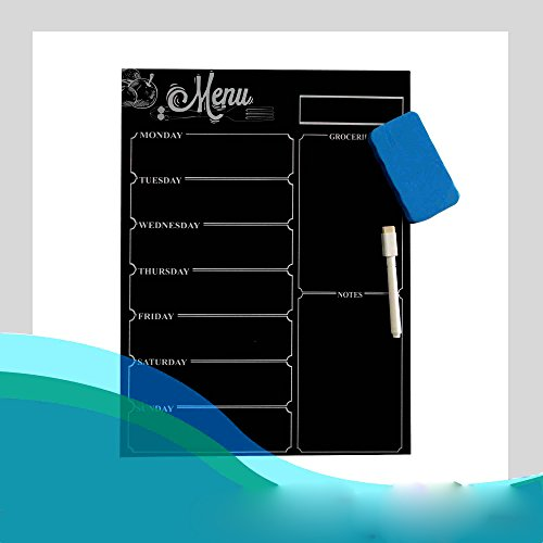 Lecent@ 10.6''X15.7'' Refrigerator Magnetic Dry Erase Black Board Calendar Magnet Board Magnetic Organizer Board Fridge Menu Magnet Chalk Includes 1 Marker and Eraser Menu Planner Board by Lecent