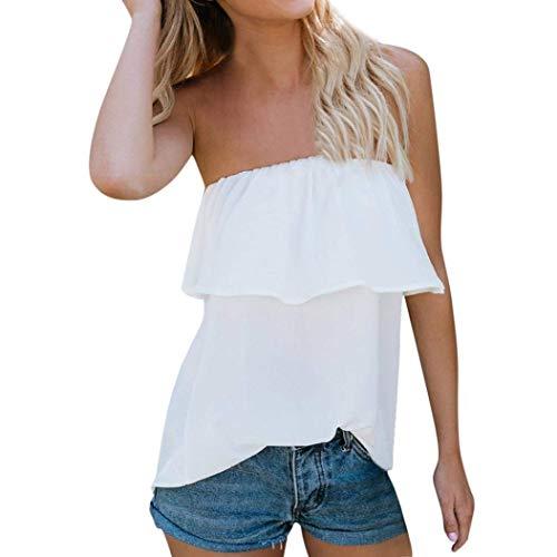 Haut Bretelles Femme Chic Elgante sans Bandeau Tops Dos Nu Shirts Sangle Et Unicolore Blanc avec Manches Jeune Blouse Dcontract sans Mode Large Volants 4w4grxn0