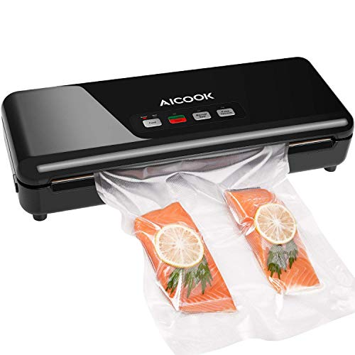 Vacuum Sealer Machine, Aicook Full Function Automatic Food Sealer, Free Vacuum Bag Food Savers, Pulse Vacuum, Bag Roll Storage, Bag Cutter, Easy to Clean, Led Lights, Compact Design