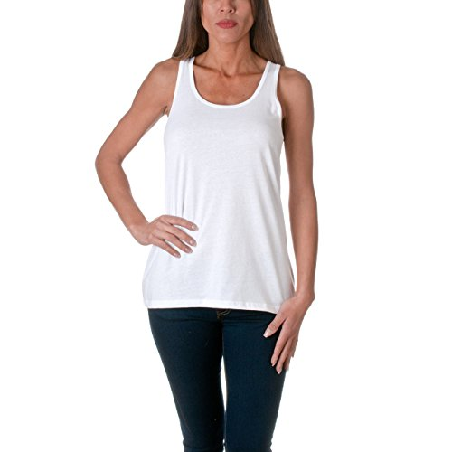 Sofra Womens Loose Fit Tank Top Relaxed Flowy White Small