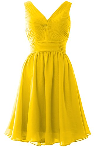 MACloth Women Short Bridesmaid Dress Straps V Neck Cocktail Party Formal Gown Amarillo