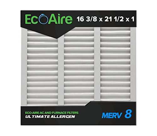 Eco-Aire 16 3/8x21 1/2x1 MERV 8, Pleated Air Filter, 16 3/8 x 21 1/2 x 1, Box of 6, Made in the USA ()