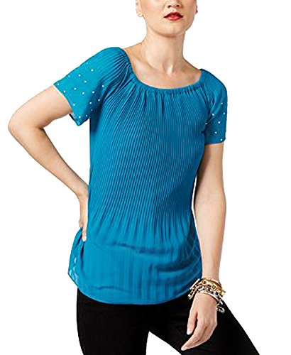 Michael Kors Michael Pleated Studded Top (Deep Teal, XXS)