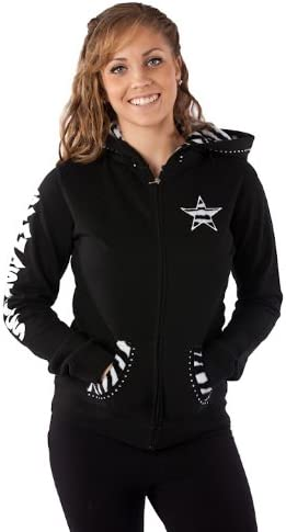 with Fur Lined Hood and Applique in Girls and Adults and Rhinestone Accents Girls Gymnast Gymnastics Hoodie Sweatshirt