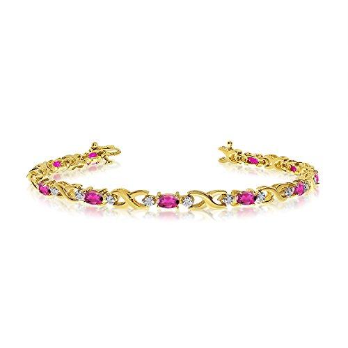 10K Yellow Gold Oval Pink Topaz and Diamond Bracelet (9 Inch Length)
