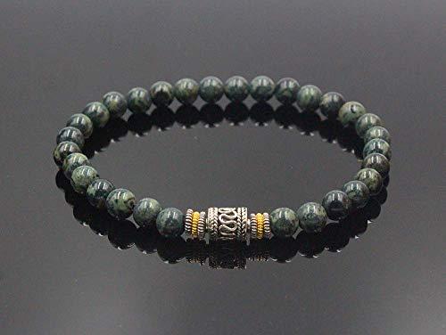 (Jade Beads Bracelet, Green Jade and Sterling Silver Beads Bracelet)