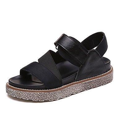 Sandalias Verano Mary Jane polipiel vestido exterior talón plano informal hebilla gancho & caminando de bucle Black