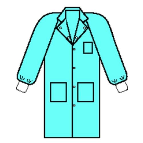 Halyard Health 10048 Universal Precautions Lab Coat, Traditional Collar, Knit Cuff, 6 Snaps, 3 Pockets, 118.1 cm Length, X-Large, Blue (Pack of 25)