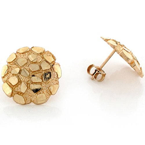 - 14k Solid Yellow Gold 1.5cm Nugget Pin Earrings